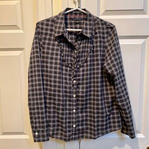 Banana Republic Black And Grey Plaid Shirt
